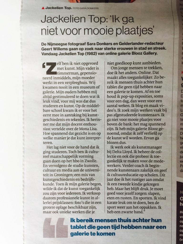 Jackelien Top interview in de Gelderlander