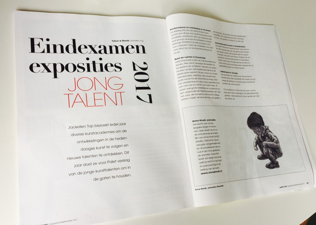 Artikel door Jackelien Top: Jong Talent voor Palet Magazine